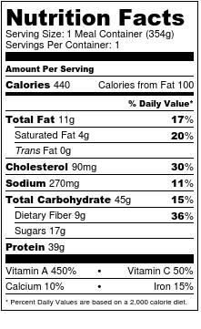 Nutrition label bbq pulled pork