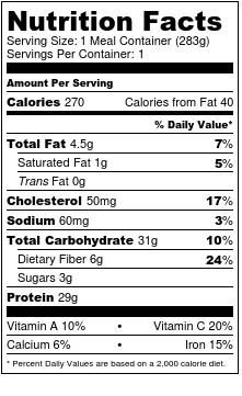 Nutrition label cajun tilapia