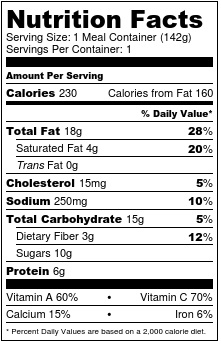 Nutrition label kale salad